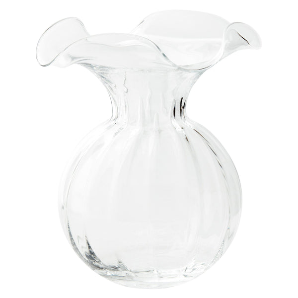 HIBISCUS GLASS WHITE LARGE FLUTED VASE
