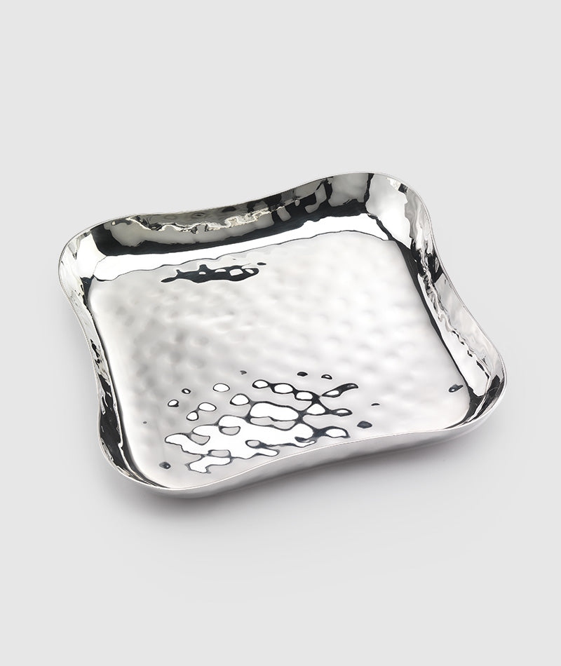 Blossom Free Form Sq Stainless Tray 9″