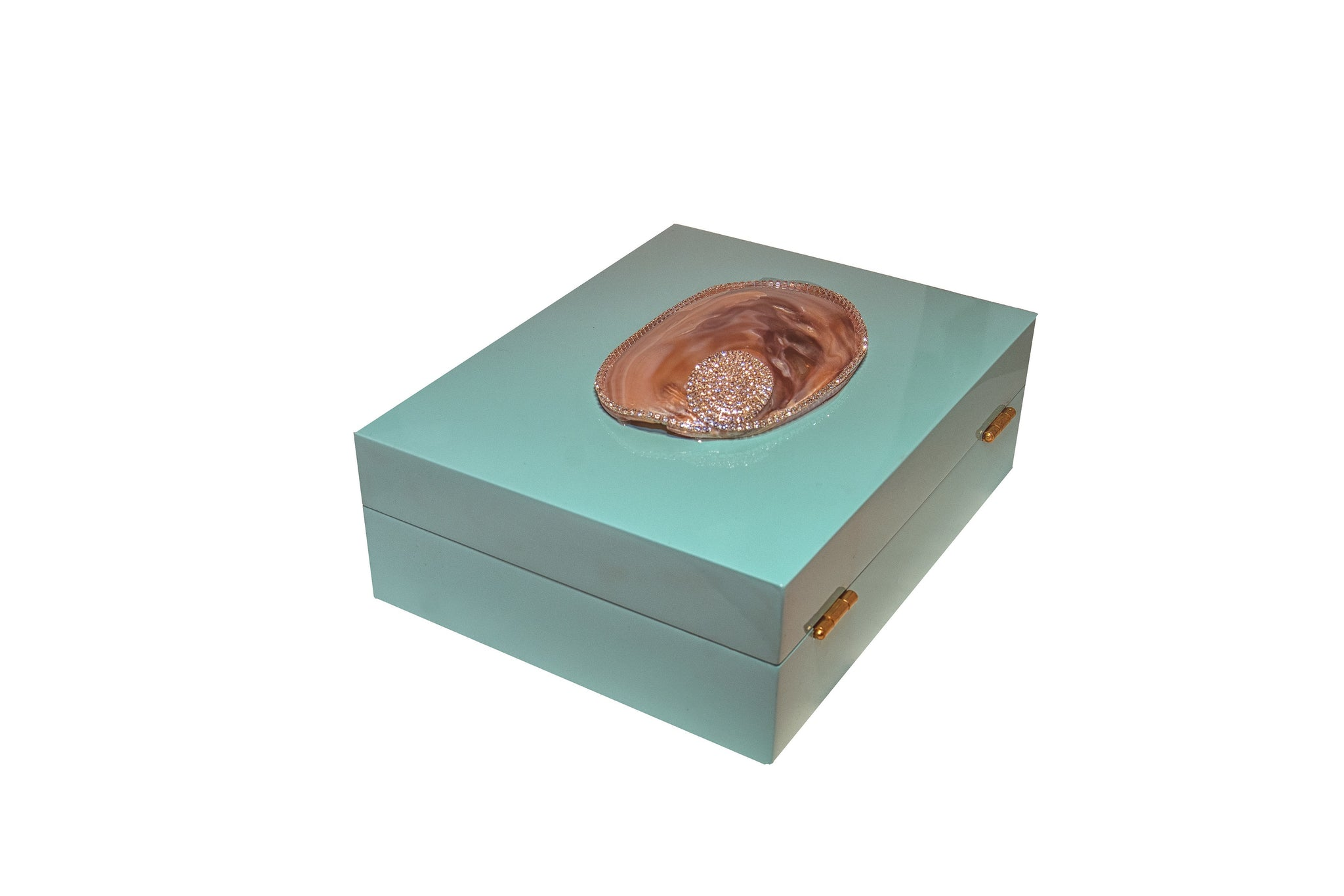 Tiffany Blue Lacquer Hinged Box