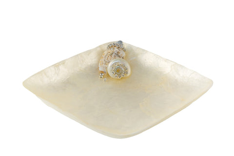 Capiz Shell Square Dish White