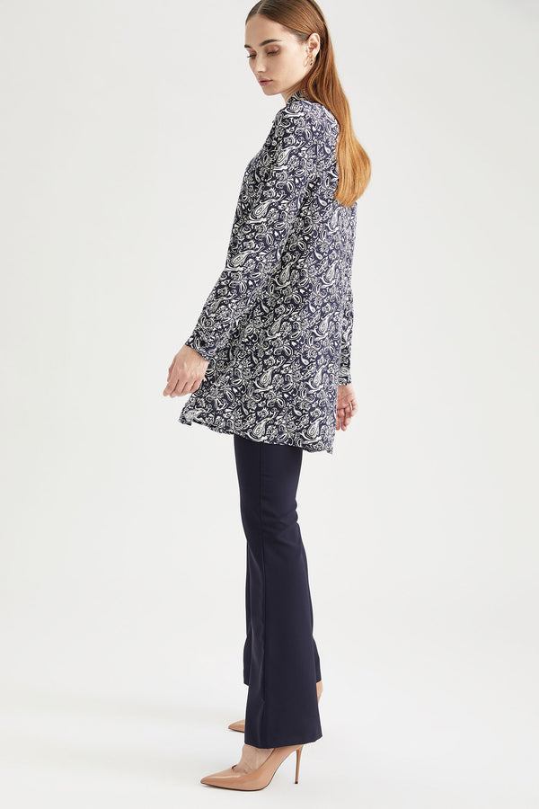 Tunika-Hemd mit All-Over-Ethno-Muster - Hell Navy
