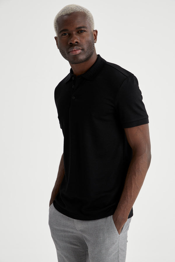 Slim Fit Polo-Shirt - Schwarz