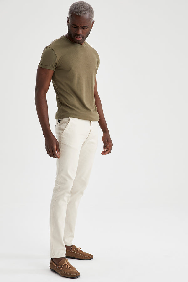 Slim Fit Basic Kurzarm T-Shirt - Khakı