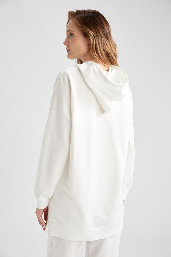 Damen Oversize Sweat Tunika mit Kapuze