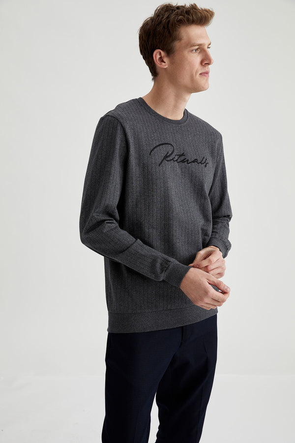 Herren Bedrucktes Regular Fit Sweatshirt