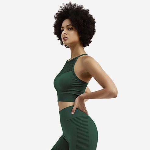 The AmourBae Eminence Green Seamless 2pcs Workout Set | Workout Outfit