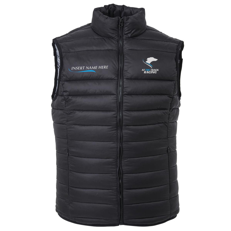 At The Track - Puffer Vest Personalised Dog Name