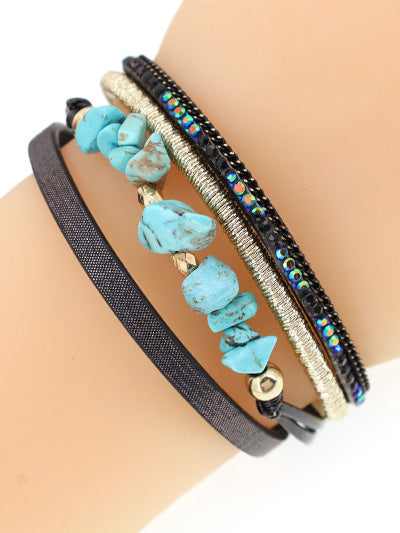 MT Leather Strand Bracelet With Turquoise Chipstone Bracelet