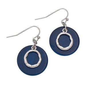 Navy Blue Shell Earrings