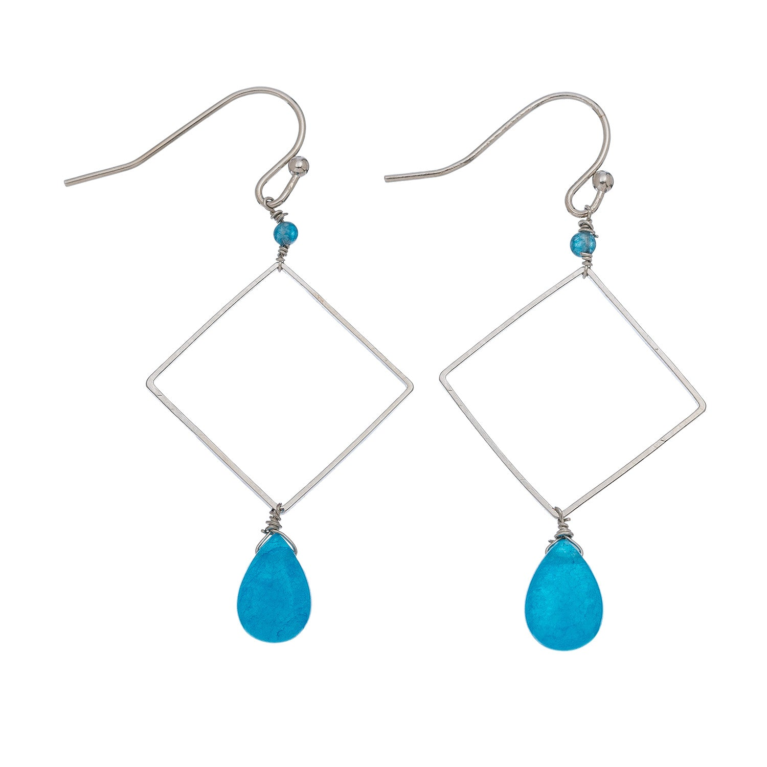 Square with Turquoise Drop Earrings