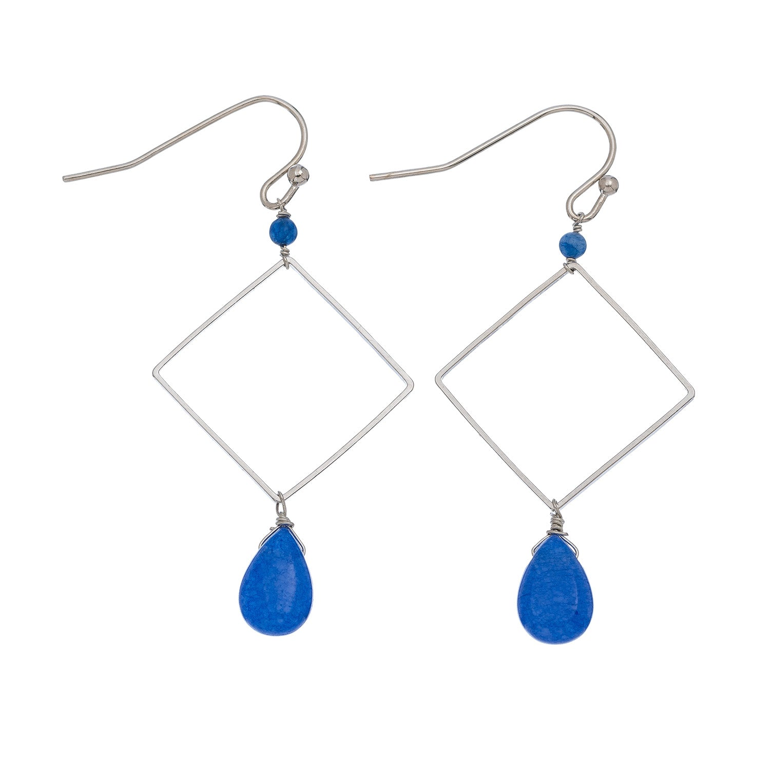 Square with Dark Blue Drop Earrings
