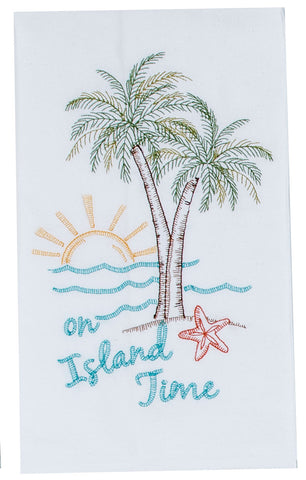Palm Tree Embroidered Flour Sack Towel
