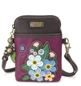 Purple Floral Chala Cell Phone Crossbody Bag