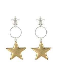 Double Stars Earring Small Silver Star