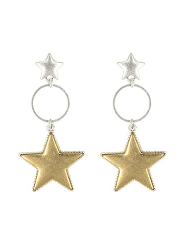 Silver And Gold Tone Double Stars Earring