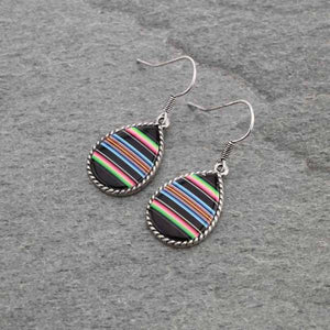 Serape Teardrop Earrings Black