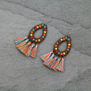 Wood Teardrop Beaded Earrings