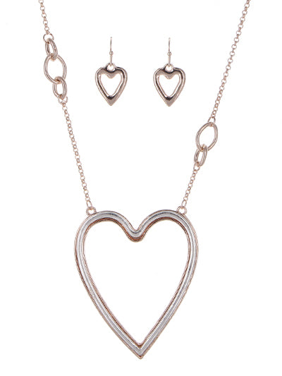 Rose Gold 33 In Necklace Set With Two Tone Heart Pendant
