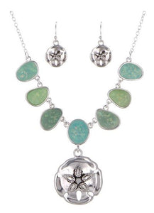 Sea Life W/Sea Glass Necklace Set Sand Dollar