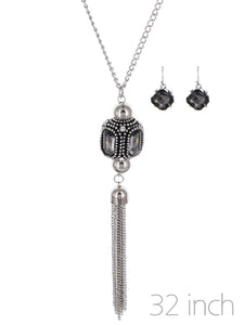 "Silver Tone 32"" Pendant With Tassel"