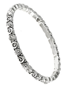 Silver Tone Metal Designer Look Stretch Bracelet With Rhinestones