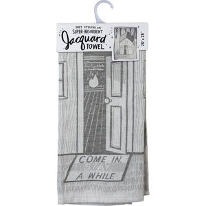 Come In Stay A While Jacquard Towel