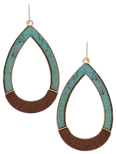 Cork and Wood Teardrop Earring Turquoise