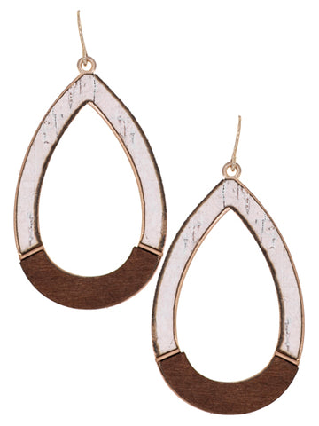 Cork and Wood Teardrop Earring White