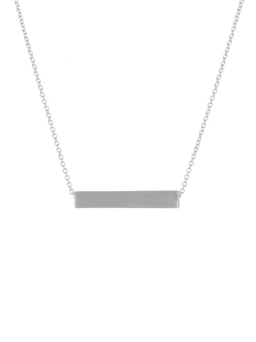 Satin Bar Necklace Silver Tone