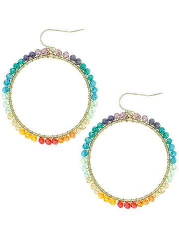 Round Multi Color Bead Earrings