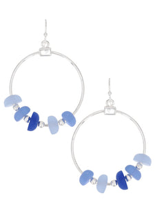 Sea Glass Earrings Blue