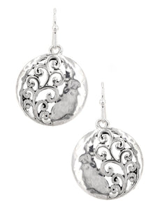 Scroll Hammered Round Earrings