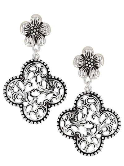 Floral Cutout Post Earrings with Quatrefoil