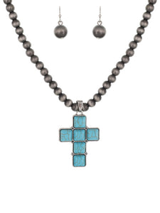 Turquoise Cross with Navajo Pearls Necklace Set