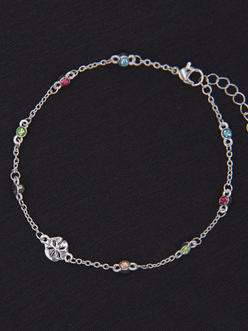 Sand Dollar Charm Anklet Multi Color Stones