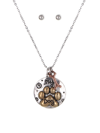 My Dog Charm Necklace Set