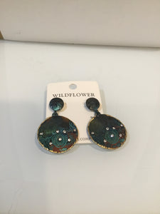 Patina Round Crystal Earrings