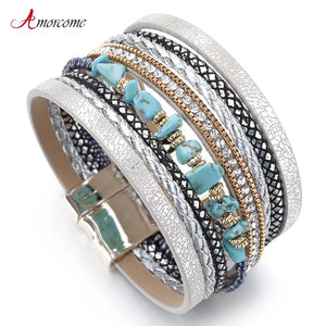 Silver and Turquoise Magnetic Bracelet