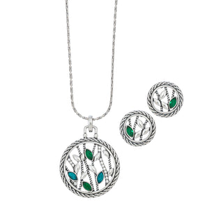 Open Circle Nature Silver Necklace Earring Set