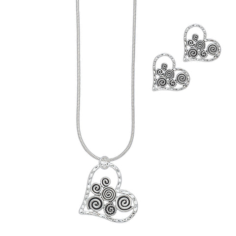 Open Swirl Heart Necklace Earring Set