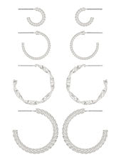 Silver Multi Hoop Earring Set