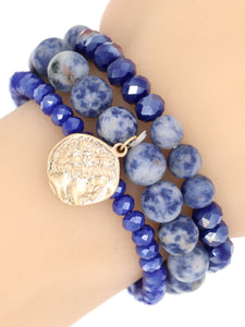 Multistone Stretch Bracelet Blue