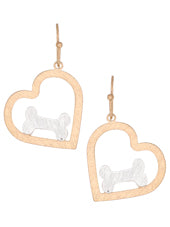 Multi Tone Heart Dog Bone Earrings