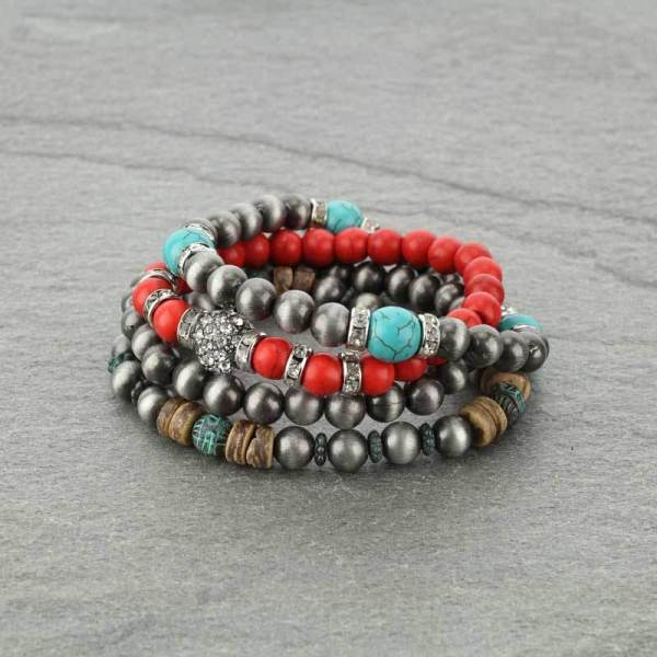 Navajo Style Pearl Stackable Bracelet - Red
