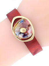 Red Lucite Shell Magnetic Bracelet