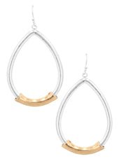 Silver Teardrop Earrings With Gold Bar
