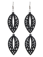 Leaf Links Wood Earrings