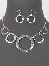 Linked Ring Necklace/ Earring Set