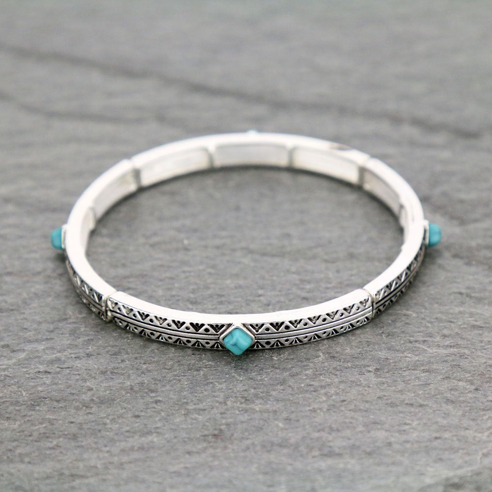 Western Diamond Shape Turquoise Stone Stretch Bracelet