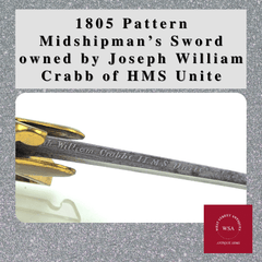 1805 Pattern Midshipman's Sword owned by Joseph William Crabb of HMS Unite